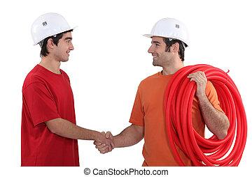 två, elektriker, hand skälv