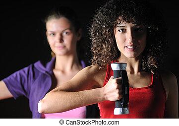 två flickor, arbete ut, in, lämplighet klubb