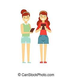 två flickor, tooking, hos, deras, lertavlor, stående, person, existens, direkt, alla, den, tid, besatt, med, grej