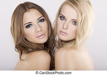 två, flickvänner, -, blond, och, brunett