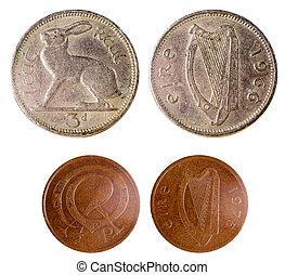 två, gammal, sällsynt, irländsk, mynter