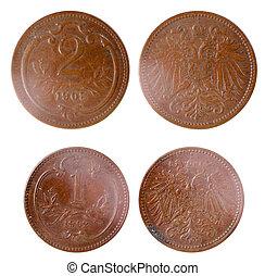 två, gammal, sällsynt, rysk, mynter