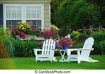 två, gräsmatta stol