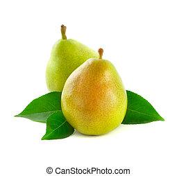 två, grön, päron, isolerat, vita