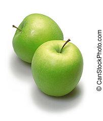 två, gröna äpplen