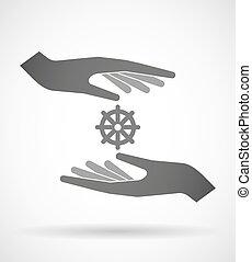 två händer, beskyddande, eller, ge sig, a, dharma chakra, underteckna