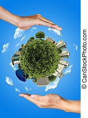 två händer, besparing, jorden