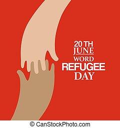 två händer, emblem, av, värld, flykting, dag