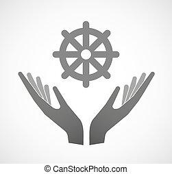 två händer, erbjudande, a, dharma chakra, underteckna