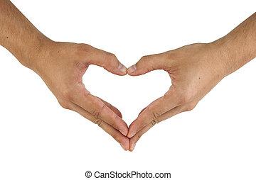 två händer, göra, hjärta gestalta