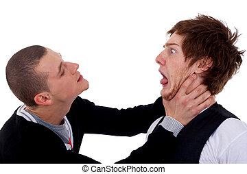 två herrar, stridande