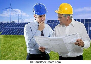 två, ingenjör, arkitekt planera, hardhat, sol, pläterar