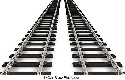 två, järnväg spårar