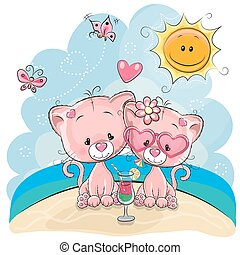 två, kattungar, stranden