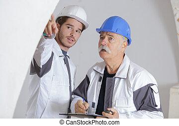 två, konstruktion arbetare, hos, plats