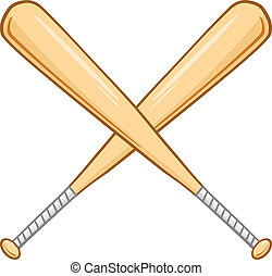 två, korsat, baseboll slagträ