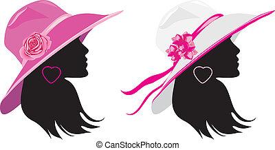 två kvinnor, in, a, elegant, hattar