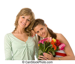 två kvinnor, med, blomningen