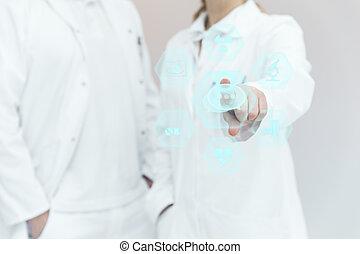 två, läkar professionella, med, en, virtuell, touchscreen