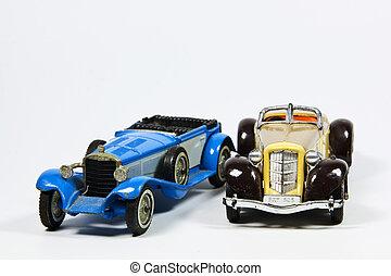 två, leksak, årgång, modellera bilar, vita