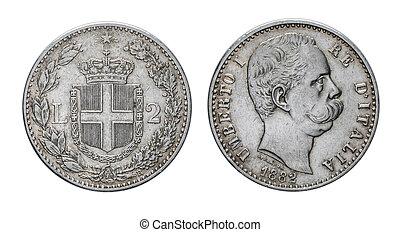 två, lire, silver, mynt, 1882, umberto, jag, kungarike, av, italien
