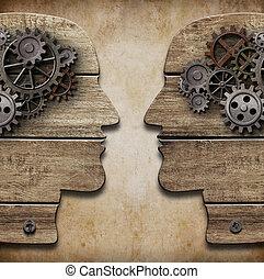 två, människa huvud, silhouettes, med, kuggar, och, utrustar