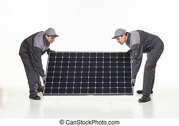 två, man, med, sol, batteri
