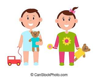 två, nätt, barn, med, olika, leksaker färgar, baner