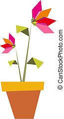 två, origami, vibrerande, färger, flowers.