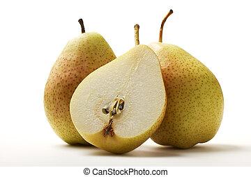 två, päron, och, a, halvt, päron, vita, bakgrund