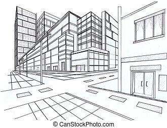 två, peka, perspektiv, av, byggnad