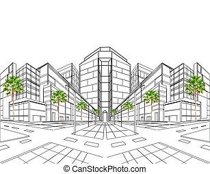 två, peka, perspektiv, av, byggnad, c