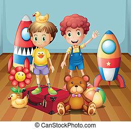 två pojkar, omgiven, med, toys