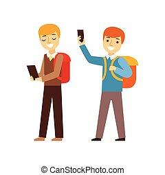 två pojkar, vandrande, från, skola, med, deras, vandrar, och, smartphones, person, existens, direkt, alla, den, tid, besatt, med, grej