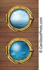 två, skepp, fönstren, med, ocean, yta, och, undervattens, djup