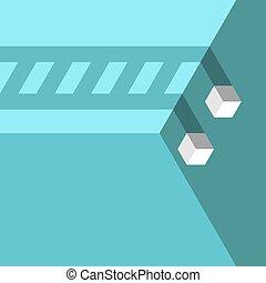 två, skugga, kuben, stege