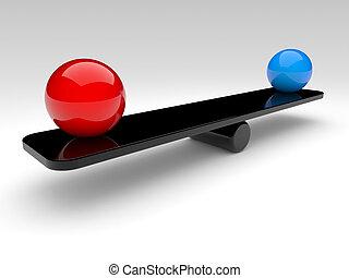 två, spheres, jämföra, (balance, concept)