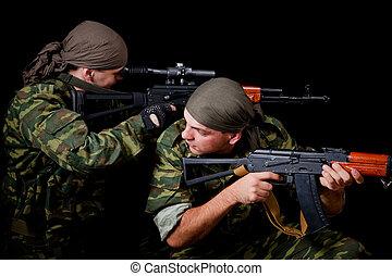 två, tjäna som soldat, in, kamouflage, likformig