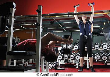 två, ungdomar, arbete ut, in, fitness