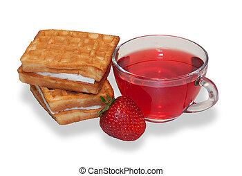 två, våfflor, kopp, av, frukt, te, och, mogen, smultron, isolerat