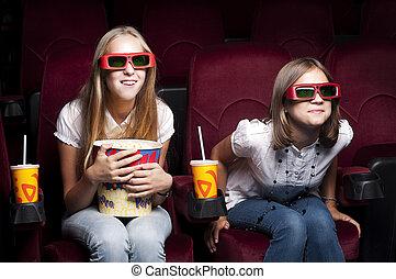 två, vackra flickor, åskåda en film, hos, den, bio