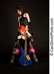 två, vagga, flickor, med, gitarr