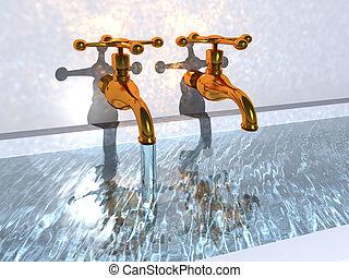 två, vatten, kranar