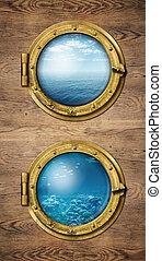två, vertikal, skepp, fönstren, med, ocean, yta, och, undervattens