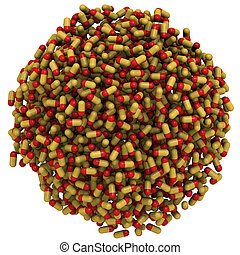 tvådelad, kapsyler, (pills), uppgjord, in, a, glob