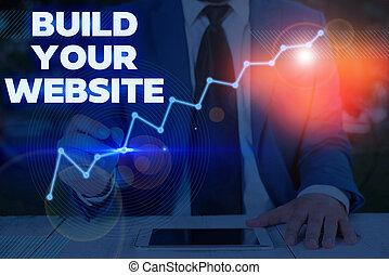 tvůj, nota, website., stavět, sázení, dílo, showing, povolání, fotografie, obchod, up, systém, ecommerce, business., showcasing