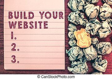 tvůj, pojem, vzkaz, povolání, text, systém, up, sázení, stavět, website., dílo, ecommerce, obchod