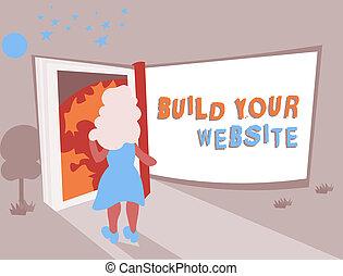 tvůj, povolání, fotografie, showing, systém, up, sázení, stavět, website., text, pojmový, dílo, ecommerce, obchod, rukopis