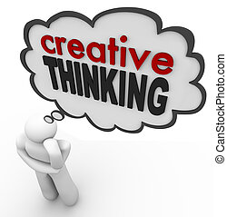 tvůrčí myšlení, osoba, thought bublat, brainstorm, pojem