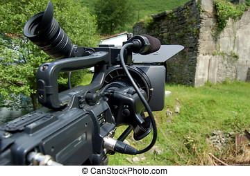 tvカメラ, 中に, 三脚